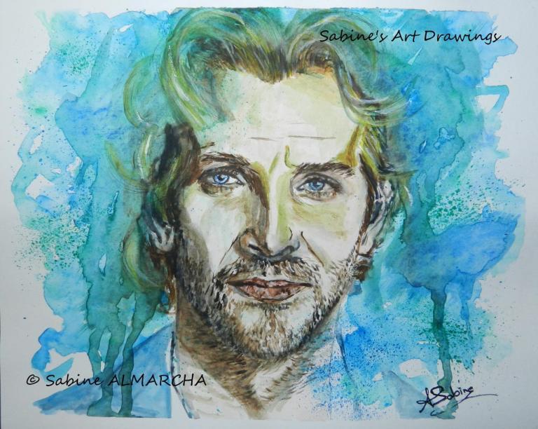 Portrait aquarelle - Bradley Cooper