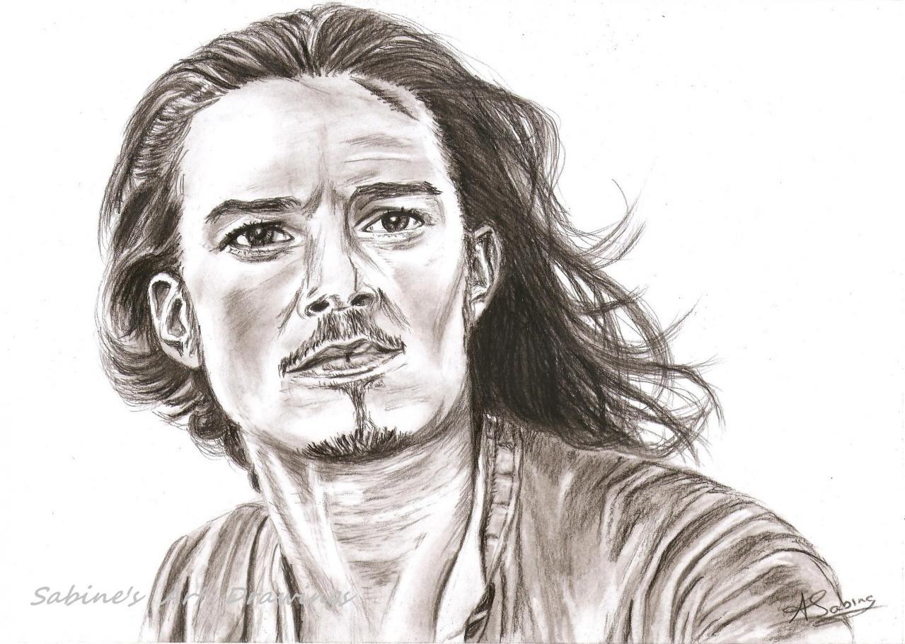 Portrait crayon - Orlando Bloom 'Pirates des Caraïbes '