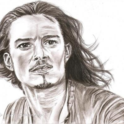 Portrait crayon - Orlando Bloom 'Pirates des Caraïbes '
